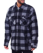 Men - Buffalo Plaid Polar Fleece Jacket Sherpa Lined (B&T)-2399720