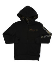 Hoodies - Full Zip Fleece Hoodie W/ Camo Chenille Patch (8-20)-2401908