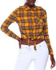 DEREK HEART - Tie Front Cropped Button Up Flannel-2403498