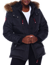 Outerwear - CWG Faux Fur Trim Hood Short Puffer W/Zip Side-2403081