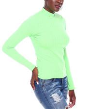 Fashion Lab - Rib L/S Mock Neck Top-2403527