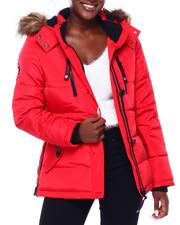 Canada Weather Gear - CWG Faux Fur Trim Hood Short Puffer W/Zip Side-2403147
