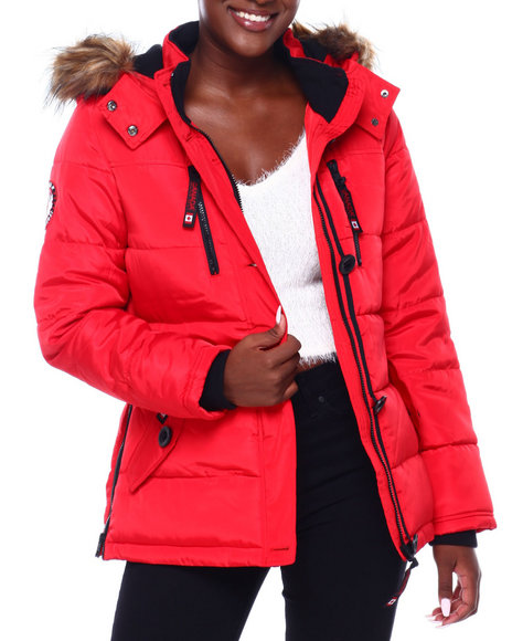 Canada Weather Gear - CWG Faux Fur Trim Hood Short Puffer W/Zip Side