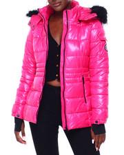 Madden Girl - MG Faux Fur Trim Hood Shiny Short Puffer-2403056