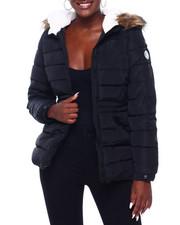 Madden Girl - MG Faux Fur Trim Hood Cinched Waist Puffer-2403007