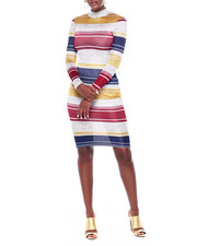 Dresses - L/S Stripe Turtle Nk Midi Dress-2395960