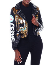 Leather Jackets - Faux Leather Moto Jacket W/Print & Studs-2403537
