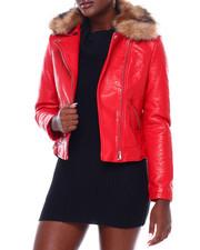 Women - Faux Leather Moto Jacket W/Faux Fur Trim-2403121