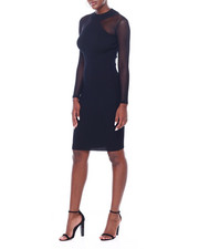 Fashion Lab - Rib L/S Mock Neck Mesh Inset Midi Dress-2403542