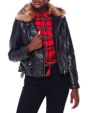 Outerwear - Faux Leather Moto Jacket W/Faux Fur Trim-2403181