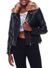 Women - Faux Leather Moto Jacket W/Faux Fur Trim-2403164
