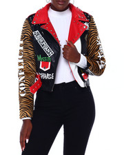Fashion Lab - Faux Leather Belted Moto Jacket W/Print & Studs-2403522