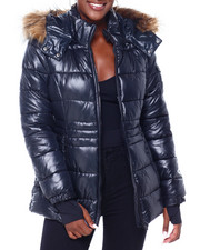 Madden Girl - MG Faux Fur Trim Hood Shiny Short Puffer-2403002