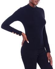 Women - Elbow Button Slv Ribbed Tee-2403756