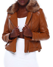 Womens-Winter - Faux Leather Moto Jacket W/Faux Fur Trim-2403158