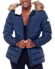 Madden Girl - MG Faux Fur Trim Hood Cinched Waist Puffer-2402992