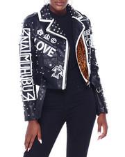 Fashion Lab - Faux Leather Moto Jacket W/Print & Studs-2403532