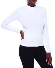Fashion Lab - Rib L/S Mock Neck Top-2403517