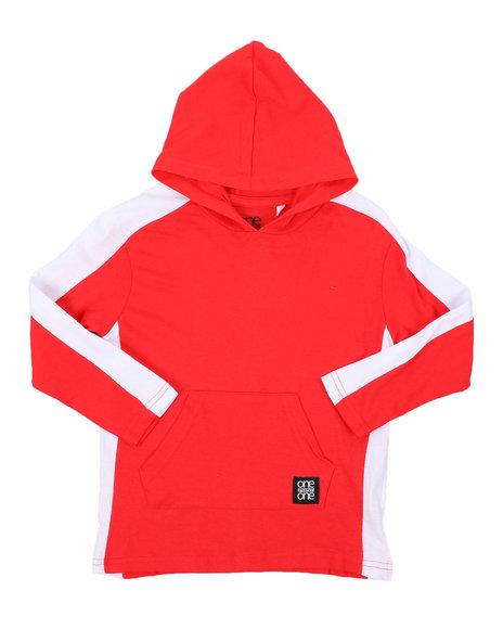 Arcade Styles - Long Sleeve Side Color Block Jersey Hooded Tee (4-7)