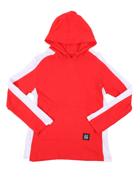 Arcade Styles - Long Sleeve Side Color Block Jersey Hooded Tee (8-20)