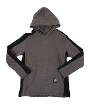 Arcade Styles - Long Sleeve Side Color Block Jersey Hooded Tee (8-20)-2403338