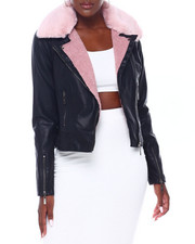 Jou Jou - Vegan Leather Moto Jacket W/Faux Fur Collar-2403076