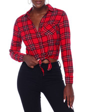 DEREK HEART - Tie Front Cropped Button Up Flannel-2403494