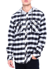 Holiday Shop - LS Hooded Flannel Button down Shirt-2404922