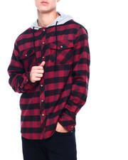 Button-downs - LS Hooded Flannel Button down Shirt-2404942