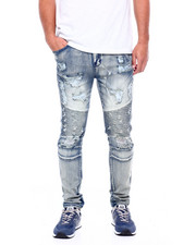 Men - Worn Out Moto Jeans Antique Blue-2404622