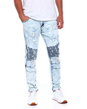 Men - Worn Out Moto Jeans Marble Wash-2404805