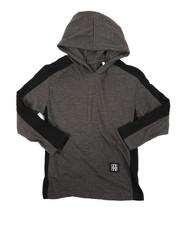 Tops - Long Sleeve Side Color Block Jersey Hooded Tee (4-7)-2403323