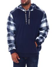 Hoodies - Spliced Fleece Pullover Hoodie (B&T)-2408400