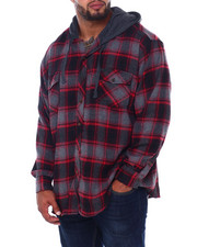 Hoodies - Flannel Button Down With Light Heather Hood (B&T)-2408396