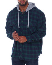 Big & Tall - Flannel Button Down With Light Heather Hood (B&T)-2408383