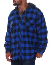 Hoodies - Flannel Button Down With Light Heather Hood (B&T)-2408020