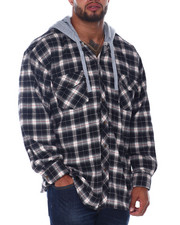 Big & Tall - Flannel Button Down With Light Heather Hood (B&T)-2408452