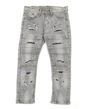 Bottoms - Washed Rip & Repair Moto Stretch Denim Jeans (4-7)-2407504