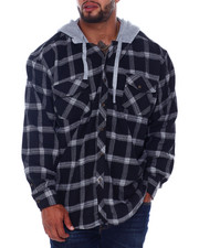 Hoodies - Flannel Button Down With Light Heather Hood (B&T)-2408001