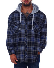 Big & Tall Faves - Flannel Button Down With Light Heather Hood (B&T)-2408438