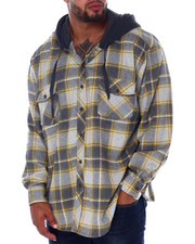 Hoodies - Flannel Button Down With Light Heather Hood (B&T)-2408009