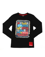 SWITCH - Graphic Long Sleeve Tee W/ Denim Patch (8-20)-2406830