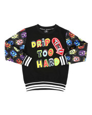 Sweatshirts & Sweaters - Drip Too Hard Printed Pullover W/ Velour Sleeve (8-20)-2407862