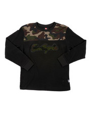Boys - Camo Chenille Patch Thermal Long Sleeve Shirt (8-20)-2406338