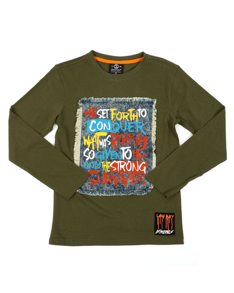 SWITCH - Graphic Long Sleeve Tee W/ Denim Patch (8-20)