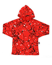 Boys - Long Sleeve Raglan Hooded Tee W/ Cracked Print (4-7)-2408237