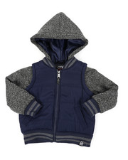 Light Jackets - Bubble Zip-Up Vest Jacket With Fleece Sleeves (4-7)-2407535