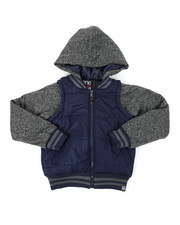 Light Jackets - Bubble Zip-Up Vest Jacket With Fleece Sleeves (8-18)-2407588