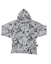Boys - Long Sleeve Raglan Hooded Tee W/ Cracked Print (8-18)-2408222