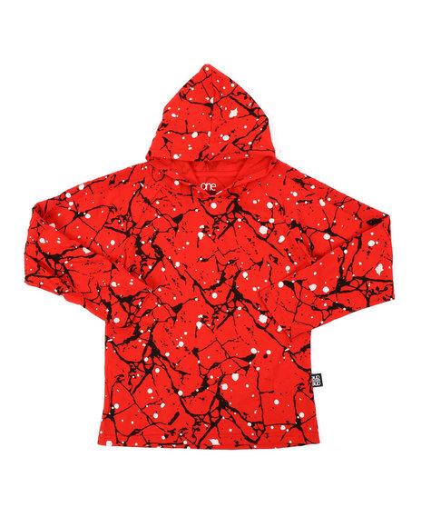 Arcade Styles - Long Sleeve Raglan Hooded Tee W/ Cracked Print (8-18)